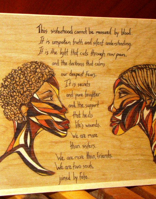 Sisterhood wooden greeting card poetic art by roxane tracey buy wooden greeting cards m4hsunfo