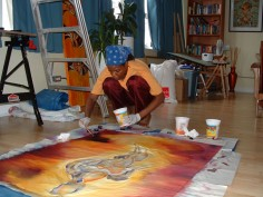 Roxane Tracey working in her studio